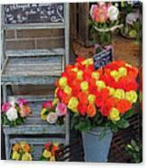 Flower Shop Display In Paris, France Canvas Print