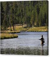 Fly Fishing In The Firehole River Yellowstone Canvas Print