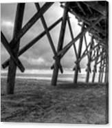 Folly Beach Pier Black And White Canvas Print