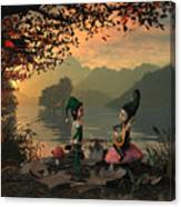 Forest Elves A Sunset Canvas Print
