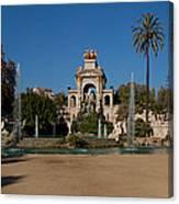 Fountain In A Park, Parc De La Canvas Print