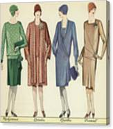Four Flappers Modelling French Designer Outfits, 1928  Canvas Print
