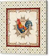 French Country Roosters Quartet Cream 2 Canvas Print