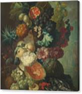 Fruit Flowers And A Fish Canvas Print