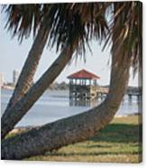 Gazebo Dock Framed By Leaning Palms Canvas Print