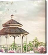 Gazebo In Summer Flower Garden Canvas Print
