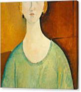 Girl In A Green Blouse Canvas Print