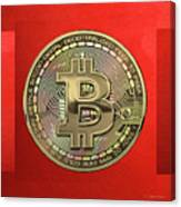 Gold Bitcoin Effigy Over Red Canvas Canvas Print