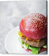 Gourmet Novelty Chicken Burger In Beetroot Bun Canvas Print
