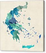 Greece Watercolor Map Canvas Print