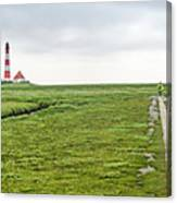 Green Fields And Romantic Lighthouse Canvas Print