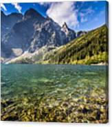 Green Water Mountain Lake Morskie Oko, Tatra Mountains, Poland Canvas Print