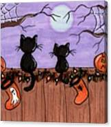 Halloween Cats Fence Canvas Print