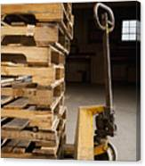 Hand Truck And Wooden Pallets Canvas Print