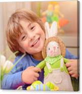 Happy Boy With Easter Bunny Canvas Print