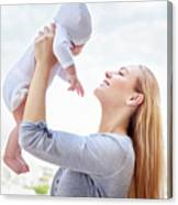 Happy Mother With Baby Canvas Print