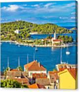Harbor Of Vis Island Panorama Canvas Print