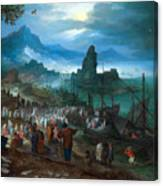 Harbour Scene With Christ Preaching Canvas Print