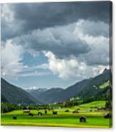 Hay Barns In Oberinntal, Pettneu Am Arlberg Canvas Print