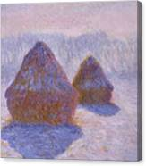 Haystacks, Snow And Sun Effect Canvas Print