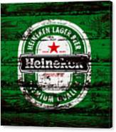 Heineken Beer Wood Sign 1e Canvas Print