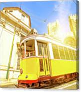 Historic Tram And Lisbon Cathedral Canvas Print