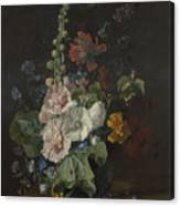 Hollyhocks And Other Flowers In A Vase Canvas Print