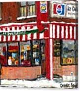 Original Montreal Paintings For Sale Peintures A Vendre Restaurant La Quebecoise Deli Canvas Print