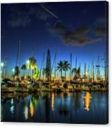 Honolulu Harbor By Night Canvas Print