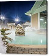 Hot Tubs And Ingound Heated Pool At A Mountain Village In Winter Canvas Print