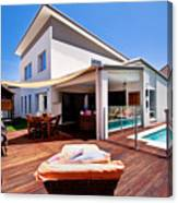 House And Pool Canvas Print
