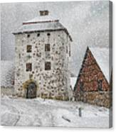 Hovdala Castle Gatehouse In Winter Canvas Print