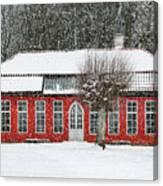 Hovdala Castle Orangery In Winter Canvas Print