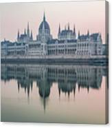 Hungarian Parliament In The Morning Canvas Print