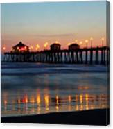 Huntington Beach Pier At Sunset Canvas Print