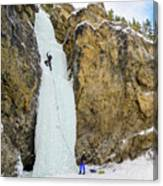 Ice Climbers On A Route Called Professor Falls Rated Wi4 In Banf Canvas Print