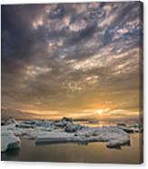 Icebergs On The Jokulsarlon Glacial Canvas Print