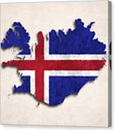 Iceland Map Art With Flag Design Canvas Print