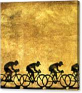 Illustration Of Cyclists Canvas Print