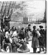 Immigrants On Ship, 1887 Canvas Print