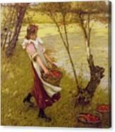 In The Orchard Haylands Graffham Henry Herbert La Thangue Canvas Print