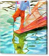 Inle Lake Leg-rower Canvas Print