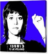 Jane Fonda Mug Shot - Blue Canvas Print