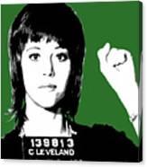 Jane Fonda Mug Shot - Green Canvas Print