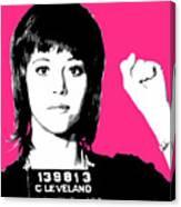 Jane Fonda Mug Shot - Pink Canvas Print