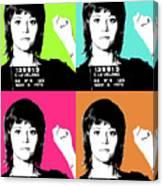 Jane Fonda Mug Shot X4 Canvas Print