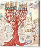 Jerusalem -watercolor On Parchment Canvas Print
