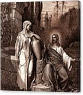 Jesus And The Woman Of Samaria Canvas Print
