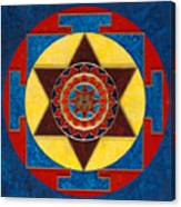 Kameshvari Yantra Blessings Sacred 3d High Relief Artistically Crafted Wooden Yantra  23in X 23in Canvas Print