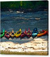 Kayaks In A Row Canvas Print